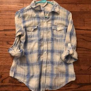 Old Navy Blue Plaid Top